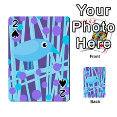 Blue And Purple Bird Playing Cards 54 Designs  by Valentinaart