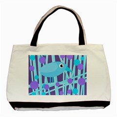 Blue And Purple Bird Basic Tote Bag by Valentinaart