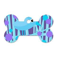 Blue And Purple Bird Dog Tag Bone (one Side) by Valentinaart