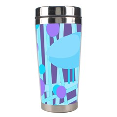 Blue And Purple Bird Stainless Steel Travel Tumblers by Valentinaart