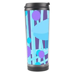 Blue And Purple Bird Travel Tumbler by Valentinaart