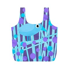 Blue And Purple Bird Full Print Recycle Bags (m)  by Valentinaart