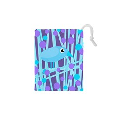Blue And Purple Bird Drawstring Pouches (xs)  by Valentinaart