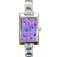 Purple And Blue Bird Rectangle Italian Charm Watch by Valentinaart