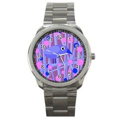 Purple And Blue Bird Sport Metal Watch by Valentinaart