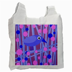 Purple And Blue Bird Recycle Bag (two Side)  by Valentinaart