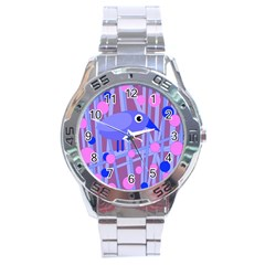 Purple And Blue Bird Stainless Steel Analogue Watch by Valentinaart