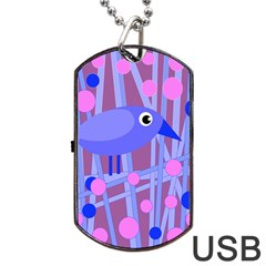 Purple And Blue Bird Dog Tag Usb Flash (two Sides)  by Valentinaart