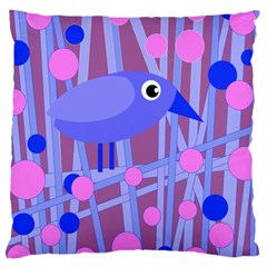 Purple And Blue Bird Large Cushion Case (two Sides) by Valentinaart