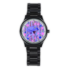 Purple And Blue Bird Stainless Steel Round Watch by Valentinaart