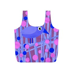 Purple And Blue Bird Full Print Recycle Bags (s)  by Valentinaart