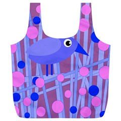 Purple And Blue Bird Full Print Recycle Bags (l)  by Valentinaart