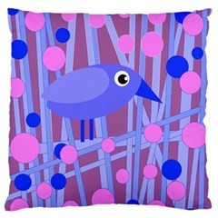 Purple And Blue Bird Large Flano Cushion Case (one Side) by Valentinaart