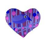 Purple and blue bird Standard 16  Premium Flano Heart Shape Cushions Front