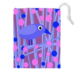 Purple And Blue Bird Drawstring Pouches (xxl) by Valentinaart
