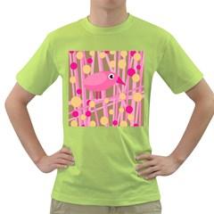 Pink Bird Green T Shirt by Valentinaart