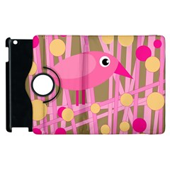 Pink Bird Apple Ipad 3/4 Flip 360 Case by Valentinaart