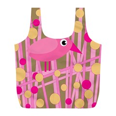 Pink Bird Full Print Recycle Bags (l)  by Valentinaart