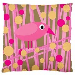 Pink Bird Large Flano Cushion Case (one Side) by Valentinaart
