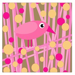 Pink Bird Large Satin Scarf (square) by Valentinaart