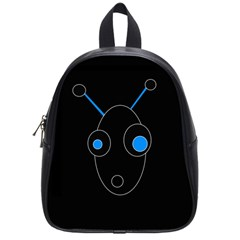 Blue Alien School Bags (small)  by Valentinaart