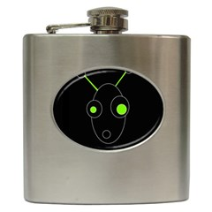 Green Alien Hip Flask (6 Oz) by Valentinaart