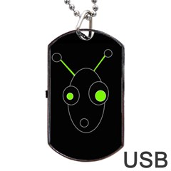 Green Alien Dog Tag Usb Flash (one Side) by Valentinaart