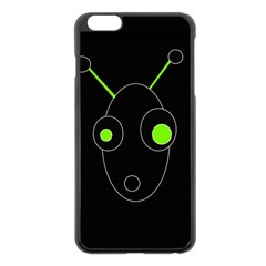 Green Alien Apple Iphone 6 Plus/6s Plus Black Enamel Case by Valentinaart
