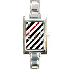 Red, Black And White Lines Rectangle Italian Charm Watch by Valentinaart