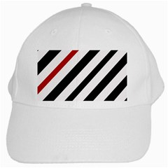Red, Black And White Lines White Cap by Valentinaart