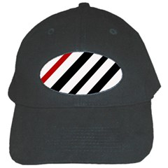 Red, Black And White Lines Black Cap by Valentinaart