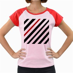 Red, Black And White Lines Women s Cap Sleeve T Shirt by Valentinaart