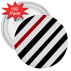 Red, Black And White Lines 3  Buttons (100 Pack)  by Valentinaart