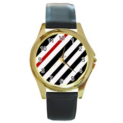 Red, Black And White Lines Round Gold Metal Watch by Valentinaart