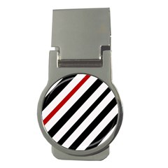 Red, Black And White Lines Money Clips (round)  by Valentinaart
