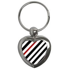 Red, Black And White Lines Key Chains (heart)  by Valentinaart
