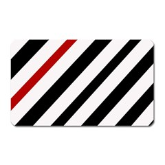 Red, Black And White Lines Magnet (rectangular) by Valentinaart