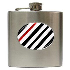 Red, black and white lines Hip Flask (6 oz) by Valentinaart