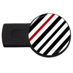 Red, Black And White Lines Usb Flash Drive Round (2 Gb)  by Valentinaart