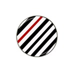 Red, black and white lines Hat Clip Ball Marker (4 pack) Front