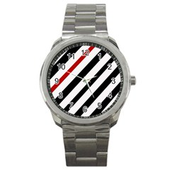 Red, Black And White Lines Sport Metal Watch by Valentinaart