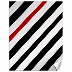 Red, Black And White Lines Canvas 18  X 24   by Valentinaart