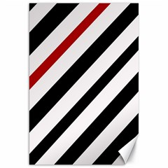 Red, Black And White Lines Canvas 20  X 30   by Valentinaart