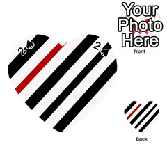 Red, Black And White Lines Playing Cards 54 (heart)  by Valentinaart