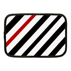 Red, Black And White Lines Netbook Case (medium)  by Valentinaart
