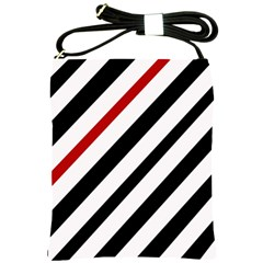 Red, black and white lines Shoulder Sling Bags