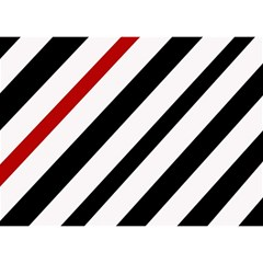 Red, Black And White Lines Birthday Cake 3d Greeting Card (7x5)