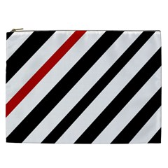 Red, Black And White Lines Cosmetic Bag (xxl)  by Valentinaart
