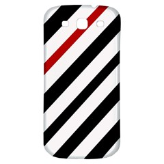 Red, Black And White Lines Samsung Galaxy S3 S Iii Classic Hardshell Back Case