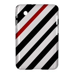 Red, Black And White Lines Samsung Galaxy Tab 2 (7 ) P3100 Hardshell Case  by Valentinaart